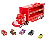 Disney Cars Toys and Pixar Cars Mack Mini Racers Hauler with 5 Miniature Metal Vehicles, Lightning McQueen'S Transporter, Birthday Gift for Kids, Ages 4 Years and Older, GWN55