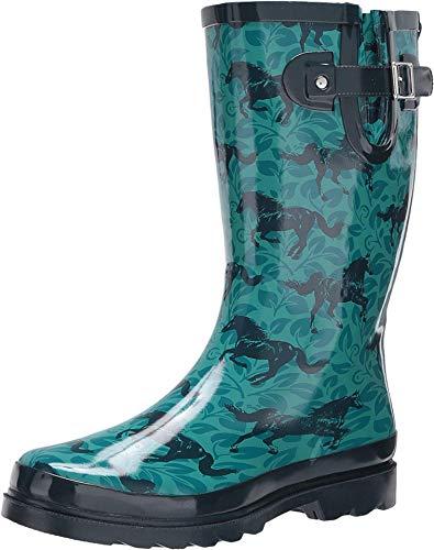 Western Chief Women's Printed Tall Rain Boot Shoe, Turquoise