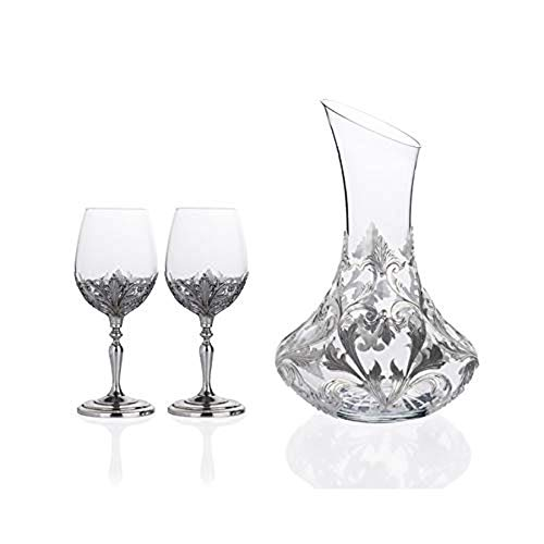 Porio Silver Embroidered Carf And 2-Way Wine Glass Set