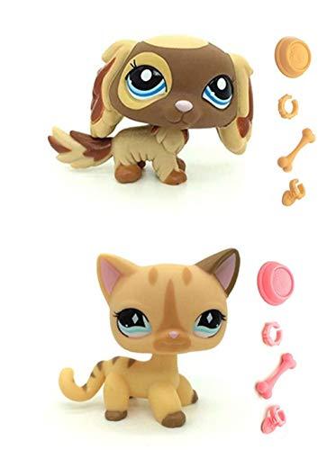 WooMax Littlest Pet Shop LPS Toy King Charles Cavalier Dog Puppy + Diamond Stripe Cat con 8 Piezas de Repuesto LPS para ni?os ni?as Regalo para ni?os