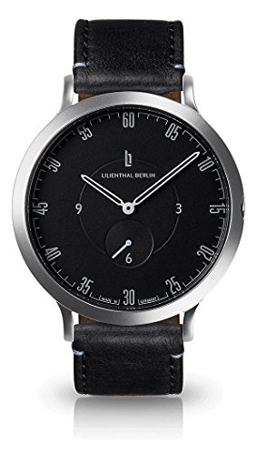 "Lilienthal Berlin Unisex Armbanduhr ""L1"" in Silber-Schwarz mit schwarzem Lederarmband - L01-105-B004A"