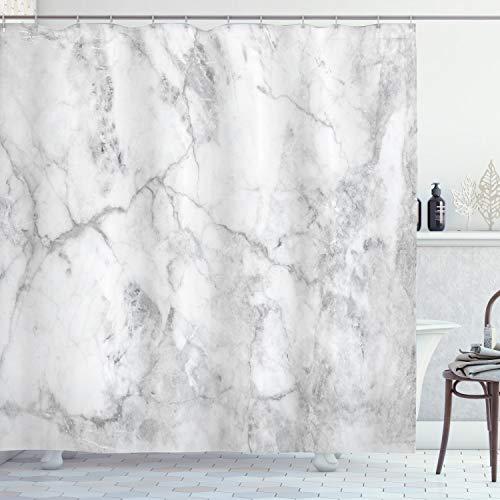 ABAKUHAUS Marmor Duschvorhang, Linien befleckt Grunge, mit 12 Ringe Set Wasserdicht Stielvoll Modern Farbfest & Schimmel Resistent, 175x200 cm, Grau Sand