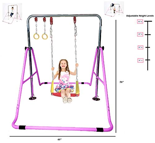 KidsJungle Kids Jungle Gym 3 in 1 Gymnastics Monkey Bar Deluxe Swing Set, Trapeze Rings, Adjustable Horizontal Climb Tower Junior Training Pink