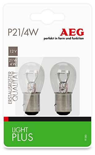 AEG Automotive 97283 Lampadina a incandescenza Light Plus P21/4W, 12 V, set da 2