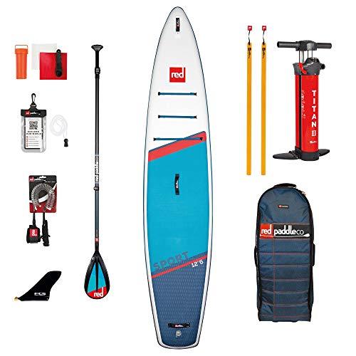 Red Paddle 12'6″ Sport + Carbon 50 Nylon Tabla Sup Y Paddle, Adultos Unisex, Multicolor, Uni