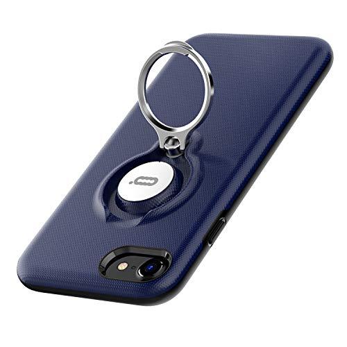 iPhone8・iPhone7・iphone se 第2世代 対応ケース リング ICONFLANG 回転可 指リンググリップケース、デュアルレイヤー耐衝撃性保護iPhone 7 / 8 ケース、磁気ブラケットに適用(紺)