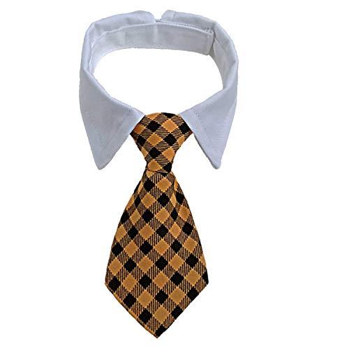GCIYAEN Hunde-Krawatte mit verstellbaren weißen Halsbändern, formell, elegant für Haustier, Geburtstag, Hochzeit, Valentinstag, Kostüm, Zubehör (S 24,1 cm - 30,5 cm, gelb)