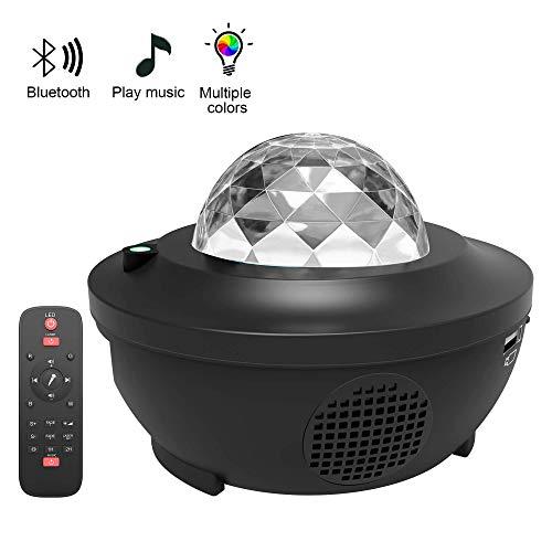LBell Lámpara Proyector, Lámpara de Nocturna Estrellas & Océano 2 in 1 con Rotación y Música, Temporización y Remoto Bluetooth 10 Modos de Luz planetario proyector estrellas para Cumpleaños y Fiesta