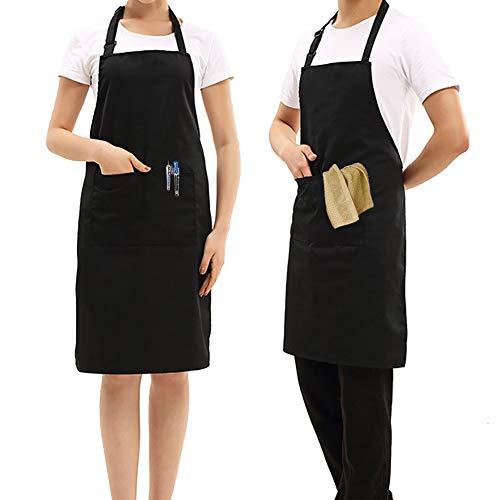 UNIGIFT 2 Stück schwarz verstellbare Schürze mit Taschen, Kochen Kaffee Haus Garten Keramik Schürzen Restaurant BBQ Schürzen für Männer und Frauen