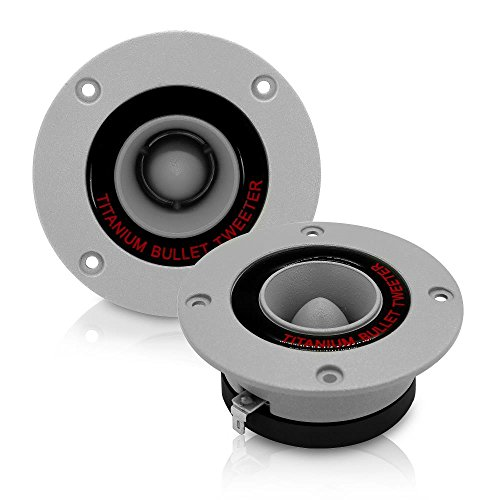 "3.25"" Car Audio Speaker Tweeter - 300 Watt High Power Aluminum Bullet Horn with 1 Inch Super Titanium Tweeters, 2 kHz - 25 kHz Frequency, 96 dB, 4 Ohm, Heavy Duty 30 oz. Magnet - Pyramid TW18 (Pair)"