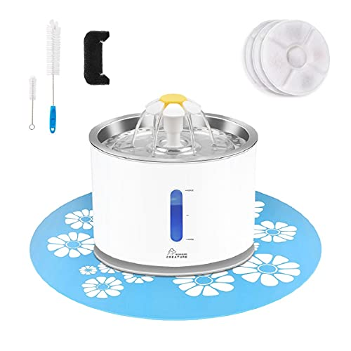 Cat Water Fountain Stainless Steel, 81oz/2.4L Cat Fountain with Smart Pump and LED Indicator for Water Shortage Alert, Cat and Dog Fountain with 3 Filters, 1 Mat and 2 Cleaning Brushes