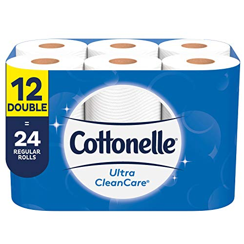 Cottonelle Ultra CleanCare Toilet Paper, 12 Double Rolls, Strong Bath Tissue (12 Double Rolls = 24 Regular Rolls)