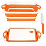 Rottogoon Collapsible Cutting Board, Foldable Chopping Board with Colander, Multifunctional Kitchen Vegetable Washing Basket Silicone Dish Tub for BBQ Prep/Picnic/Camping(Orange)