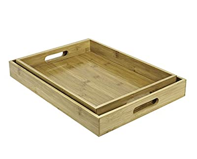 Set of 2 Bamboo Serving Trays