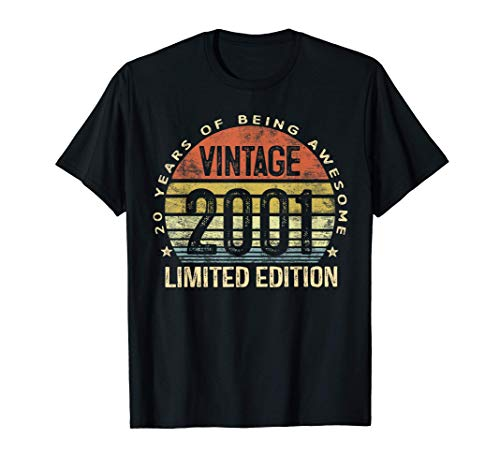 20 Year Old Gifts Vintage 2001 Limited Edition 20th Birthday T-Shirt