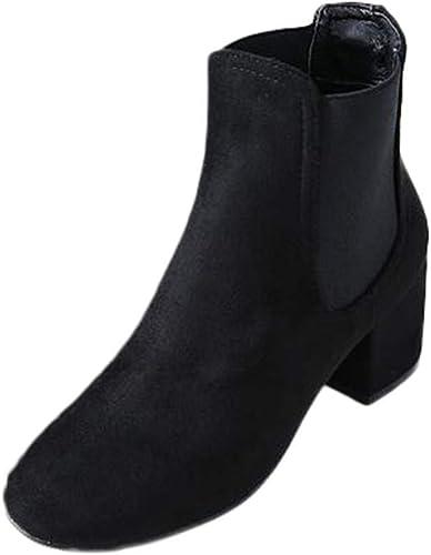 ZHRUI Stiefel schuhe de damen Stiefel de damen Stiefel de otoño Invierno Botines de tacón Alto Cuadrados Botines Nudo de Tobillo schuhe Casuales clásicos Stiefel (Farbe   schwarz , tamaño   38 EU)