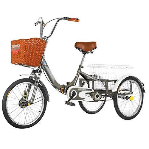 ZFF Triciclo Plegable Pedales Bicicleta con Cestas Triciclo Adultos De Una Sola Velocidad para Personas Mayores Compras Cruise (Color : Gray)
