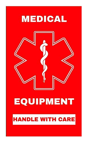 Medical Alert Equipment Sticker Height 3 inches x Width 2 inches Handle with Care MELT101 Quantity 2