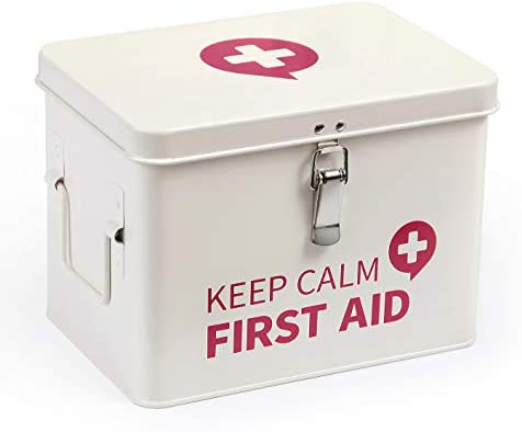 Keep Calm First Aid Medicine Organizer Storage Metal Box with Lid Latch Closure Removable Tray product image