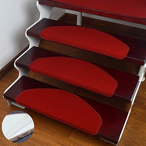 Liveinu Moderner Stil Selbstklebend Stufenmatten Treppen Teppich Halbrund Waschbar Starke Befestigung Anthrazit Treppen-Matten Rot 21x55cm (15 Stück)