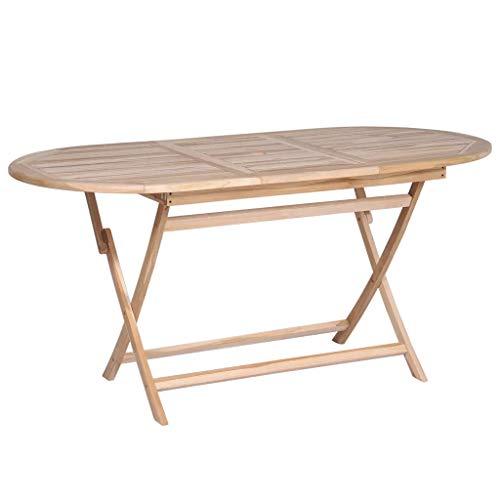 GOTOTOP Mesa de Comedor de Teca 160 x 80 x 75 cm Mesa de Madera de Acacia, Mesa de Comedor de jardín Plegable