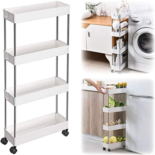 4-Tier Slim Rolling Storage Cart - Multifunctional Rolling Cart Organizer - Kitchen, Laundry & Bathroom Storage Cart with Wheels - Narrow Shelving Rolling Organizer Cart - Rolling Cart with Shelves