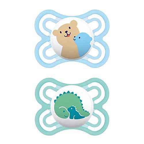 MAM Perfect Schnuller im 2er Set, für eine gesunde Zahn- und Kieferentwicklung, Baby Schnuller aus speziellem MAM SkinSoft Silikon mit Schnullerbox, 0-6 Monate, Bär/Dino