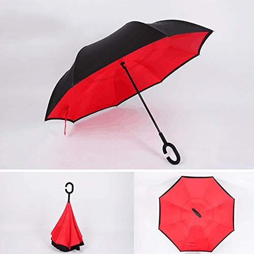 Windproof Umbrella Reversible Umbrella mit Doppelschicht und C-förmigem Griff Wasserdichter, handfreier Regenschirm für Reisen und Outdoor