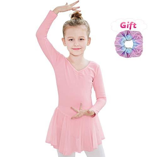 Sinoem Kinder Mädchen Ballettkleidung Ballettkleid Tanzbody Gymnastikanzug Kurzarm und Lange Ärmel Balletttrikot Kurzarm Tanzkleid aus Baumwolle mit Chiffon Kleider (M(120,5-6Jahre), Langarm-Rosa)