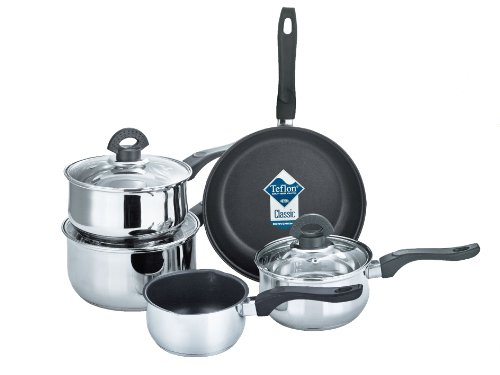 Buckingham Set of 5 Induction Air Vented Glass Lid Saucepan Non Stick Frying Pot Milk Pan Casserole Cookware Set Bakelite Handle Stainless Steel, 24