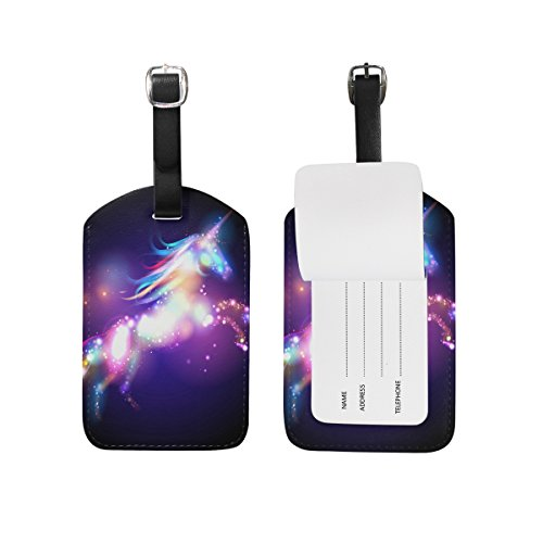 My Daily Colorful Galaxy Unicorn Luggage Tag PU Leather Bag Tag Travel Suitcases ID Identifier Baggage Label 1 Piece