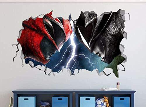 ioljk Pegatinas de Pared 3D Calcomanías de Vinilo Rojas y Negras rompen la decoración de la Pared Regalos de Navidad50x70cm