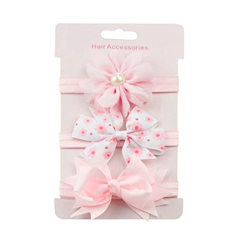 Huhu833 3 Stück Kids Elastic Blumen Stirnband Haarband Mädchen Baby Bowknot Stirnband Set (I)