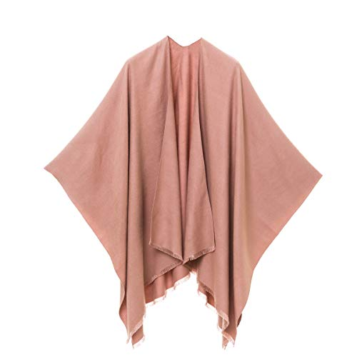 MELIFLUOS DESIGNED IN SPAIN Women's Shawl Wrap Poncho Ruana Cape Cardigan Sweater Open Front for Fall Winter (PC03-3)