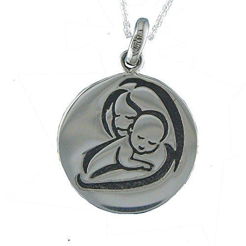 Alylosilver Collar Colgante Medalla Madre con su Bebe en Plata para Mujer - Incluye una Cadena de Plata de 45 cm y un Estuche para Regalo