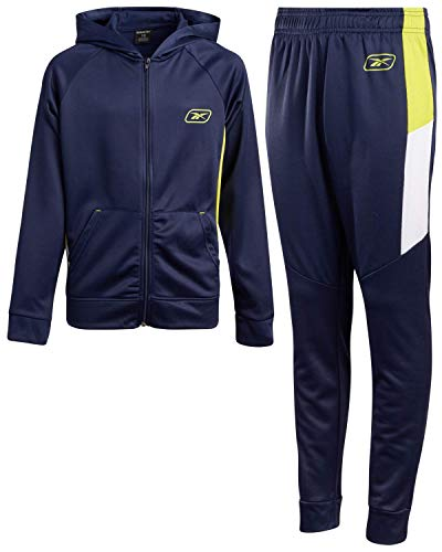 Reebok Boys 2-Piece Athletic Tricot Tracksuit Set with Zip Up Jacket and Jog Pants (Navy/Lime Green, 8)