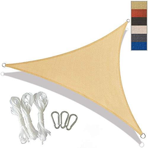 Triángulo de la cortina de Sun Sail 3,6 m × 3,6 m × 3,6 m 95% Refugio UV Bloque Toldo capota parasol for al aire libre Patio jardín Patio Céspedes, gris, 3.6x3.6x3.6m, Tamaño: 3.6x3.6x3.6m, color: ama