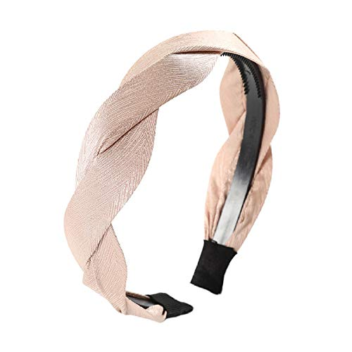 Tony plate Bandeau Automne Hiver Tête Cerceau Cheveux Accessoires Couleur Unie Tissu Tressé Bandeau De Mode Dames Coiffe-Rose