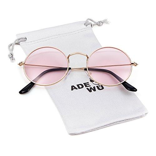 ADEWU rétro lunettes de lecture rondes lunettes de soleil avec cadre en métal mince pour hommes femmes (A - Or (cadre) + rose (lentille))