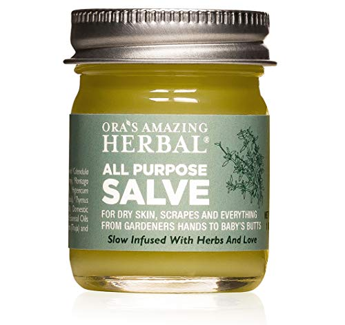 All Purpose Salve for Dry Itchy Skin, Cracked Heels, Minor Burns, Sunburn Relief, Scrapes, Cuticle Conditioner, Bumps and Bruises Herbal Healing Salve with Organic Coconut Oil, Paraben Free' specified