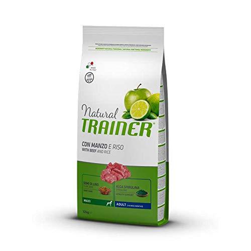 Trainer Natural Adult Maxi con Manzo, Riso, Semi di Lino e Alga Spirulina 12 kg