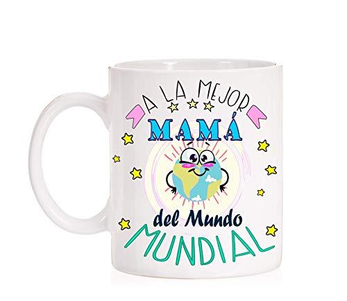 Taza Madre. A la mejor mamá del mundo mundial. Taza de regalo para mamas divertida con caja chula.