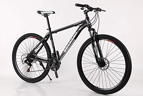 bon à choisir KFDQ Bicycle Cycling Outdoor Cycling Fitness Portable Bike, Road Bike, 29 inch Mountain Bike, Carbon Steel Hardtail Mountain Bike, Male Female Student Vélo à vitesse variable, gris noir