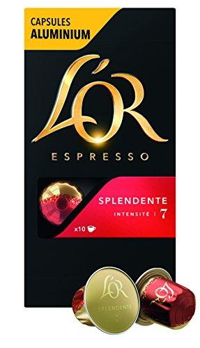 L'Or Espresso Café Splendente - Intensité 7 - 50 Capsules en Aluminium Compatibles avec les Machines Nespresso* (Lot de 5X10 capsules)