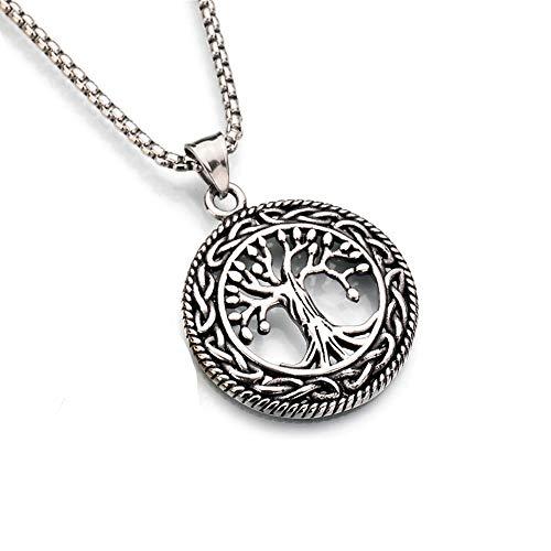 Tree of Life ketting, rvs Christendom Jesus Pendant Religieus Heilige Boom Sieraden cadeau voor mannen,Silver