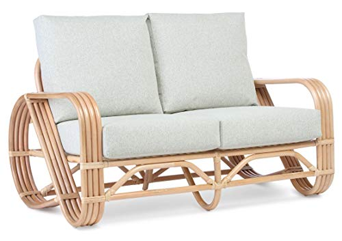 Desser Pretzel Cane 2 Seater Sofa – Fully Assembled Natural Rattan Indoor Living Room or Conservatory Sofa with UK Made Cushions in Smooth Green Fabric - H92cm x W134cm x D86cm