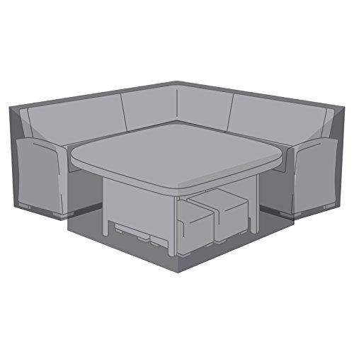 Nova Outdoor Living Garden Chairs Patio Furniture PVC Protector Weatherproof Deluxe Sofa Dining, Black, Corner Set 235cm (93') D: 75cm (30') H: 79cm (31'). Table Cover-W D: 132cm (52') H: 70cm (28')