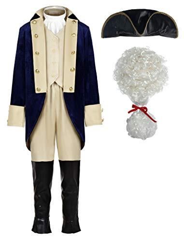 ReliBeauty Washington Costume Boys Hamliton American Colonial Uniform with Wig, 2T-3T/100