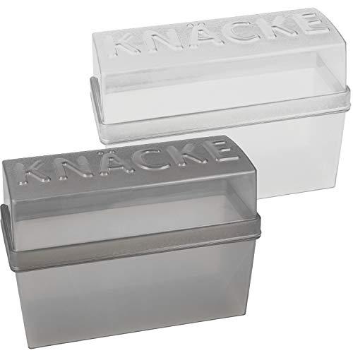 com-four® 2x Knäckebrot Dosen mit Deckel, luftdicht, Aufbewahrungsboxen, ca. 20 x 9 x 14 cm (grau + weiß)