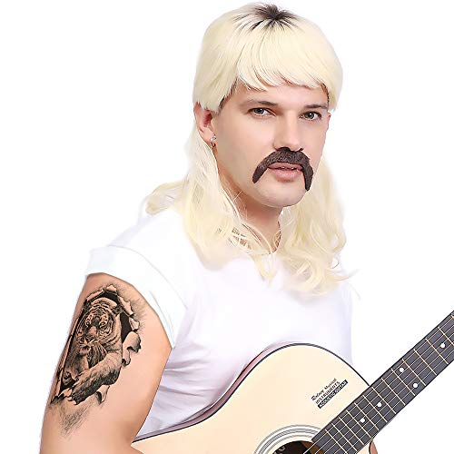 Blonde Wig- Tiger King Costume, Full Set Joe Exotic Cosplay Costume, includes a Blonde Mullet Lace Net Synthetic Fiber Hair Wig, Handlebar Mustache, Tattoos, and Clip-On Earrings.